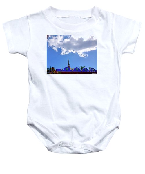 Baby Onesie featuring the digital art Rooftop And Sky by Francesca Mackenney