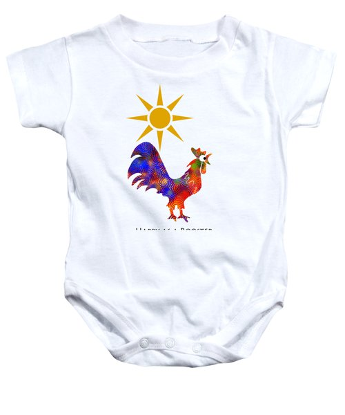 Rooster Pattern Art Baby Onesie by Christina Rollo