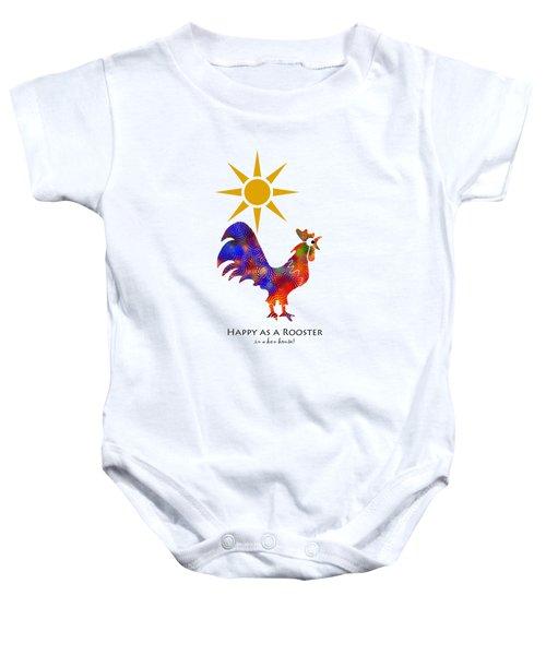 Rooster Pattern Art Baby Onesie