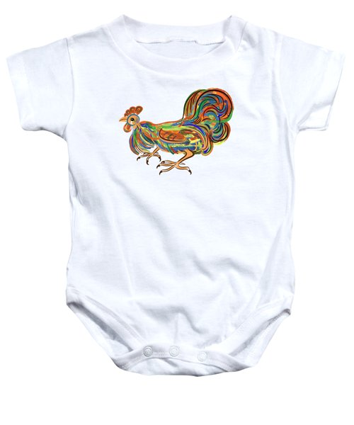 Rooster- Symbol Of Chinese New Year Baby Onesie by Michal Boubin