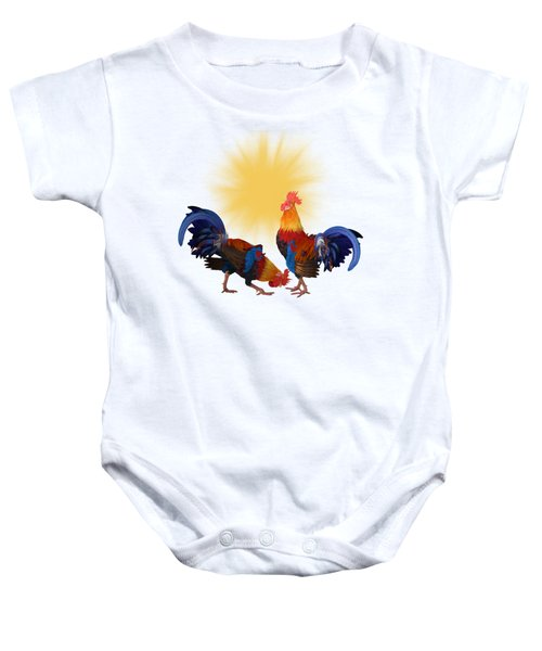 Roosters And Sun Baby Onesie