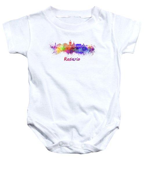 Rosario Skyline In Watercolor Baby Onesie