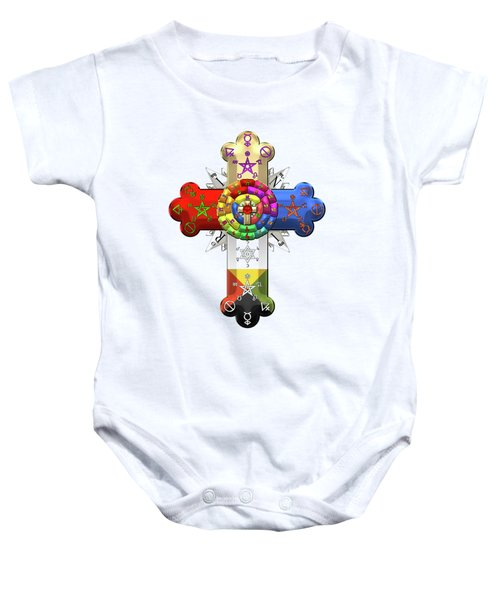 Rosy Cross - Rose Croix On White Leather  Baby Onesie