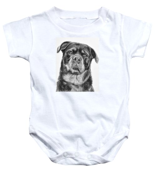 Rottweiler Drawing Titled Mama Baby Onesie