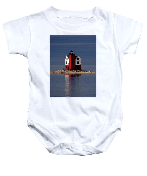 Round Island Lighthouse In The Morning Baby Onesie