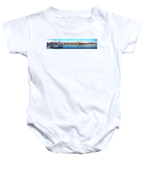 Rovinj Harbor And Boats Panorama Baby Onesie