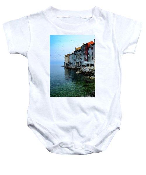 Rovinj Venetian Buildings And Adriatic Sea, Istria, Croatia Baby Onesie