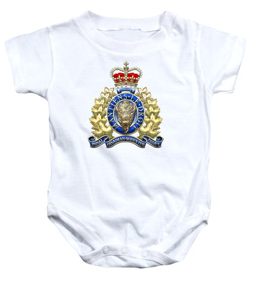 Royal Canadian Mounted Police - Rcmp Badge On White Leather Baby Onesie by Serge Averbukh