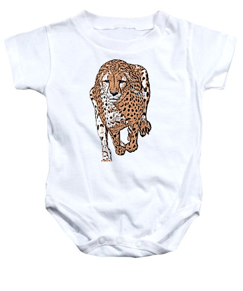 Running Cheetah Cartoonized #2 Baby Onesie