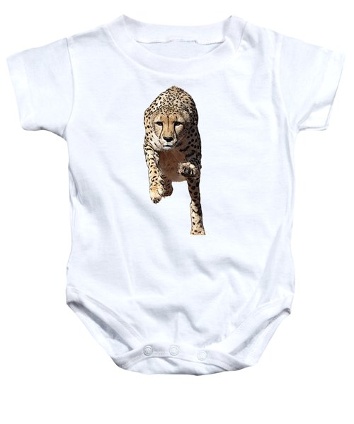 Running Cheetah, Isolated On White Background, Cartoonized Style #2 Baby Onesie