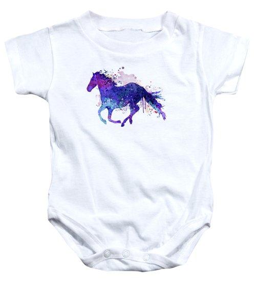 Running Horse Watercolor Silhouette Baby Onesie