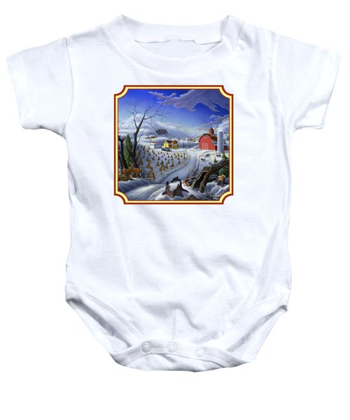 Rural Winter Country Farm Life Landscape - Square Format Baby Onesie by Walt Curlee