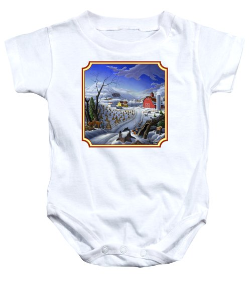 Rural Winter Country Farm Life Landscape - Square Format Baby Onesie