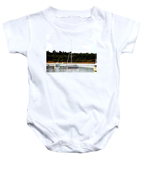 Sail Boat At Anchor  Baby Onesie