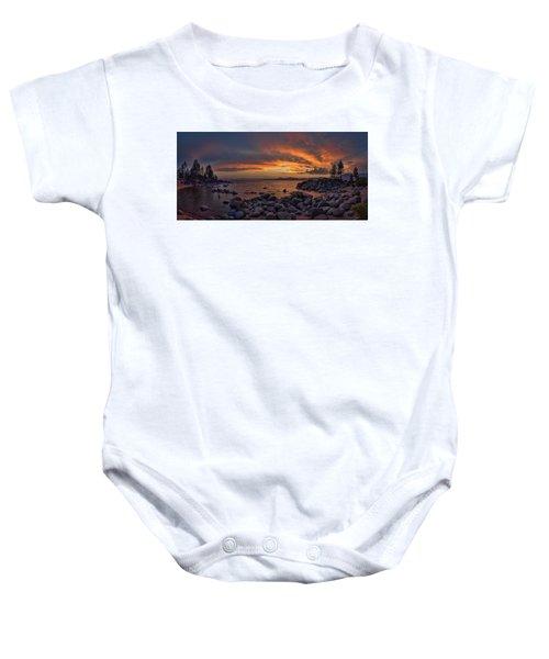Sand Harbor Sunset Panorama Baby Onesie
