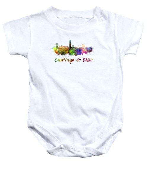 Santiago De Chile Skyline In Watercolor Baby Onesie