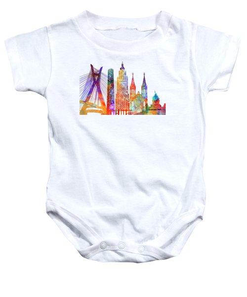 Sao Paulo Landmarks Watercolor Poster Baby Onesie