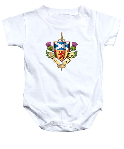 Scotland Forever - Alba Gu Brath - Symbols Of Scotland Over White Leather Baby Onesie