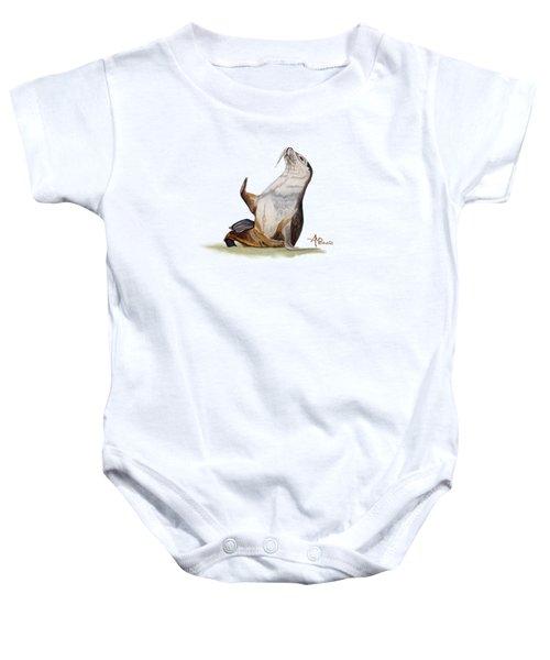 Sea Lion Watercolor II Baby Onesie