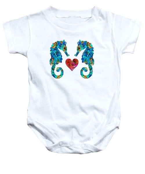 Sea Lovers - Seahorse Beach Art By Sharon Cummings Baby Onesie by Sharon Cummings