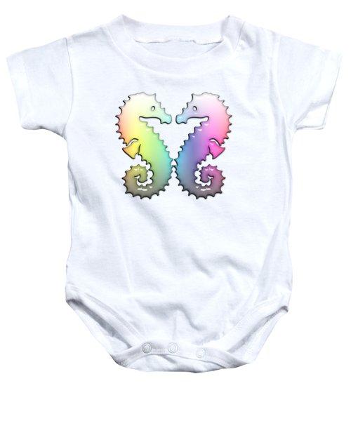 Seahorse Tango Soft Rainbow Drops Baby Onesie by Di Designs