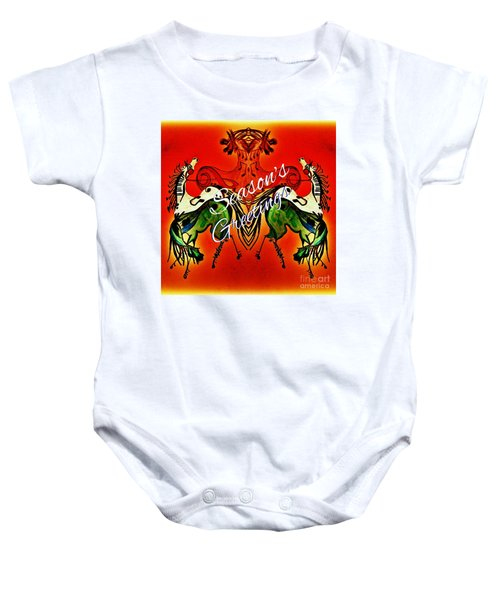 Seasons Greetings Dancing Musical Horses Baby Onesie by Scott D Van Osdol