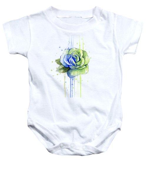 Seattle 12th Man Seahawks Watercolor Rose Baby Onesie by Olga Shvartsur