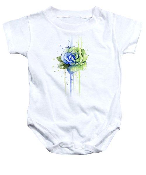 Seattle 12th Man Seahawks Watercolor Rose Baby Onesie