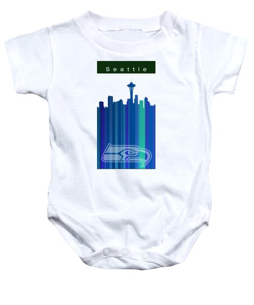 Seattle Sehawks Skyline Baby Onesie by Alberto RuiZ