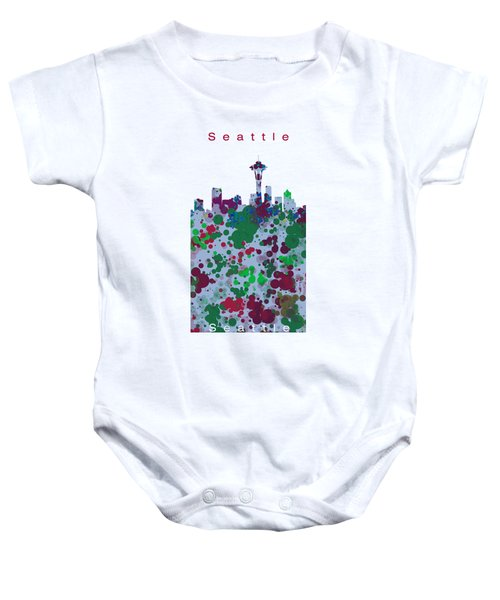 Seattle Skyline .3 Baby Onesie by Alberto RuiZ