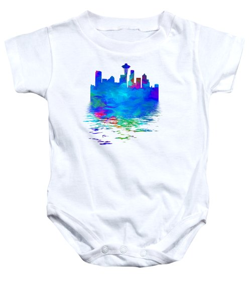 Seattle Skyline, Blue Tones On White Baby Onesie by Pamela Saville