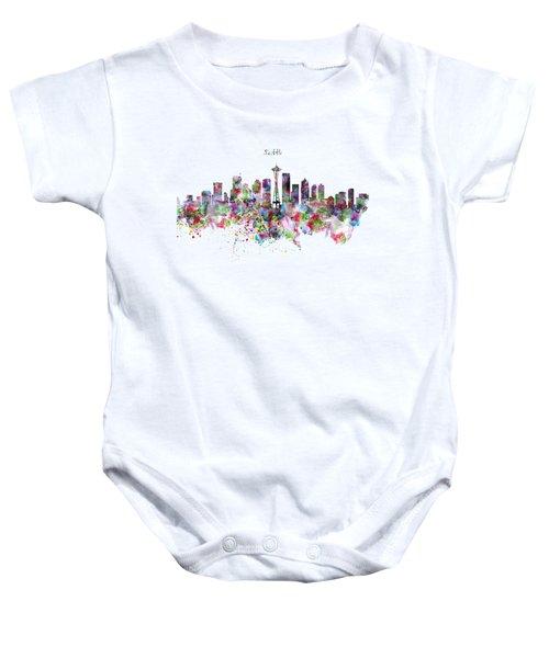 Seattle Skyline Silhouette Baby Onesie by Marian Voicu