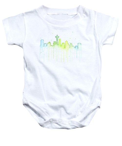 Seattle Skyline Watercolor  Baby Onesie by Olga Shvartsur