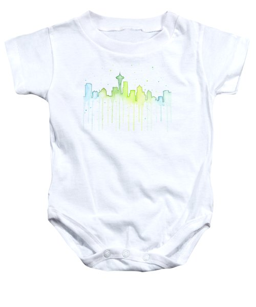 Seattle Skyline Watercolor  Baby Onesie