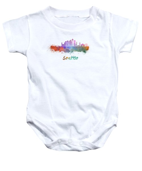 Seattle V2 Skyline In Watercolor Baby Onesie by Pablo Romero