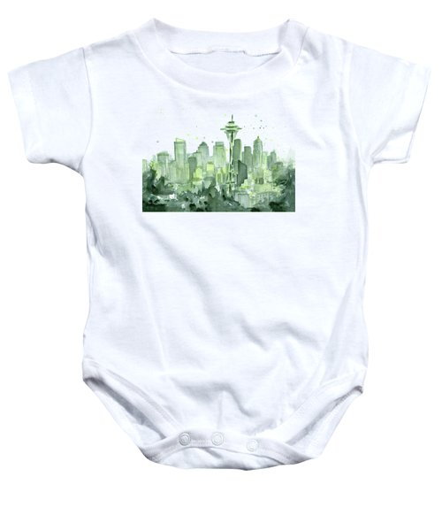 Seattle Watercolor Baby Onesie