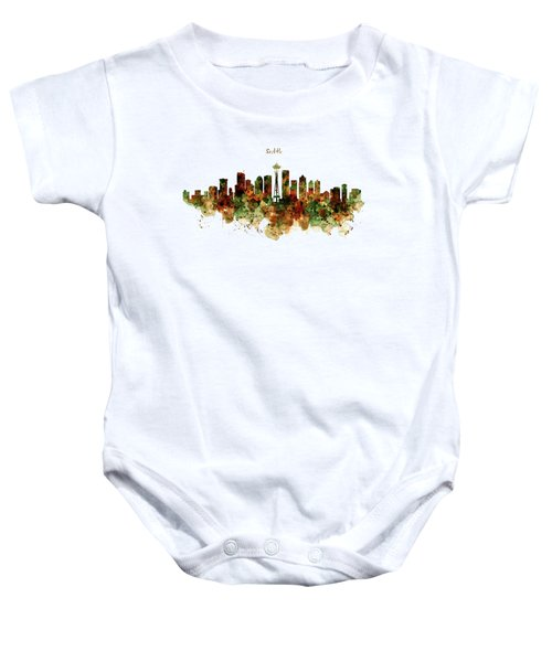 Seattle Watercolor Skyline Poster Baby Onesie by Marian Voicu