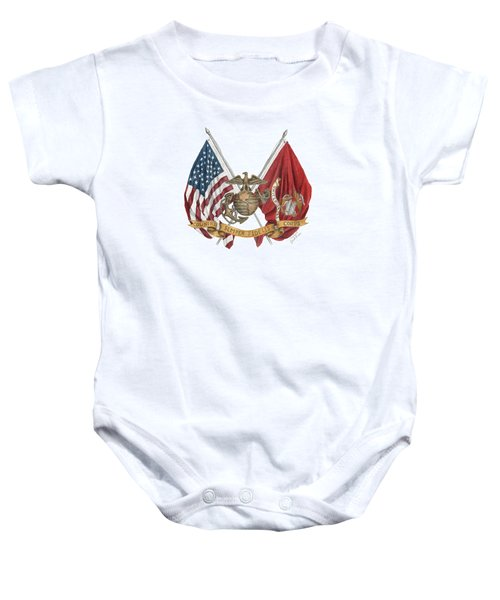 Semper Fidelis Crossed Flags Baby Onesie