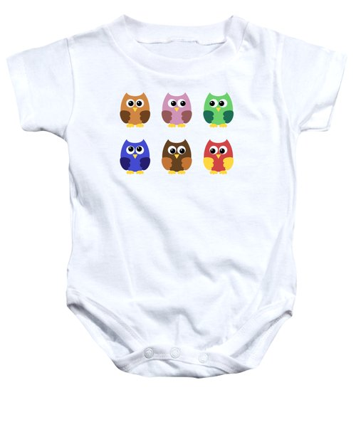 Set Of Six Little Owlets Baby Onesie