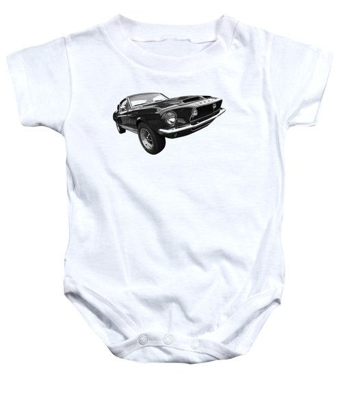 Shelby Gt500kr 1968 In Black And White Baby Onesie by Gill Billington