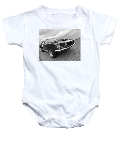 Shelby Gt500kr 1968 In Black And White Baby Onesie