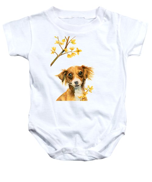 Signs Of Spring - Cute Dog With Forsythia Watercolor Painting Baby Onesie