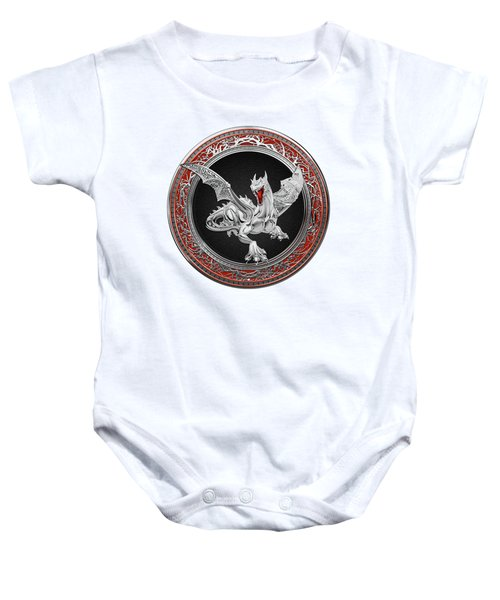 Silver Guardian Dragon Over White Leather Baby Onesie by Serge Averbukh
