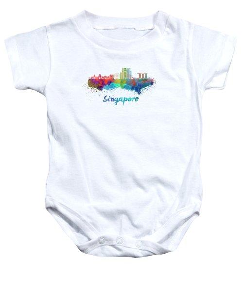 Singapore V2 Skyline In Watercolor Baby Onesie