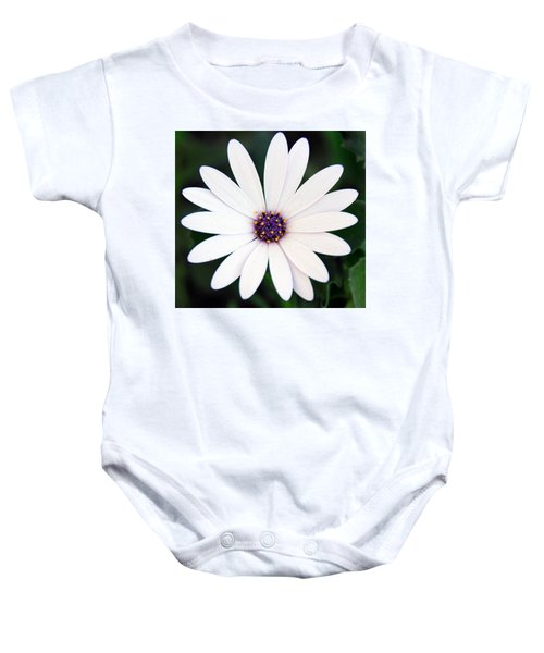 Single White Daisy Macro Baby Onesie