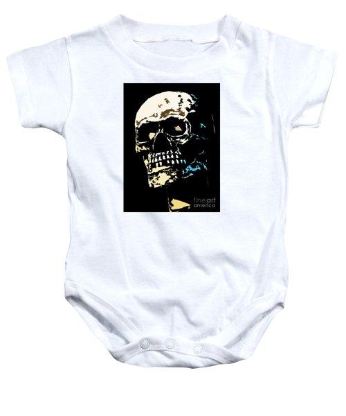 Skull Against A Dark Background Baby Onesie