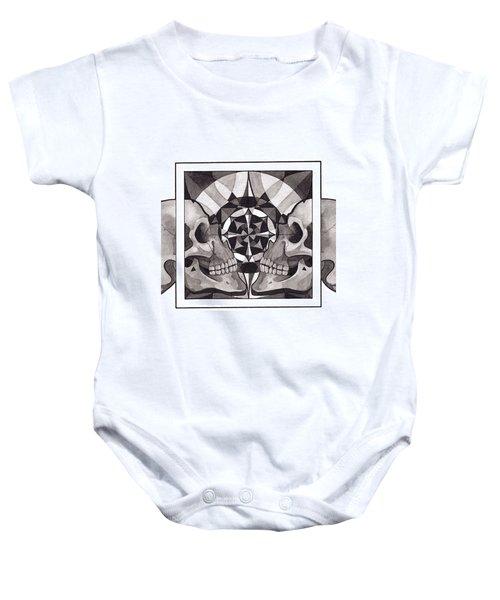Skull Mandala Series Nr 1 Baby Onesie by Deadcharming Art