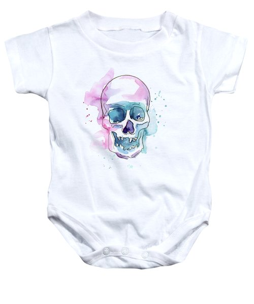 Skull Watercolor Abstract Baby Onesie