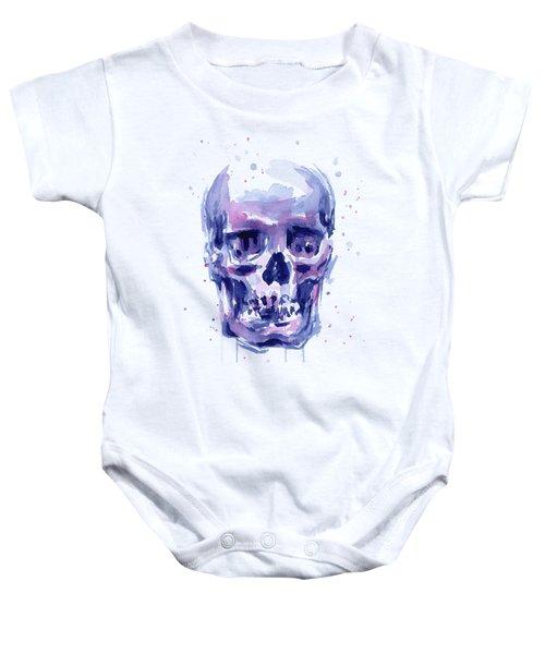 Skull Watercolor Baby Onesie