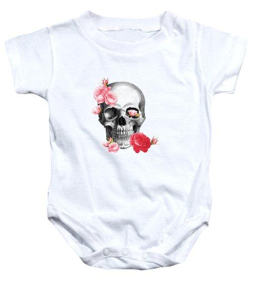 Skull With Pink Roses Framed Art Print Baby Onesie